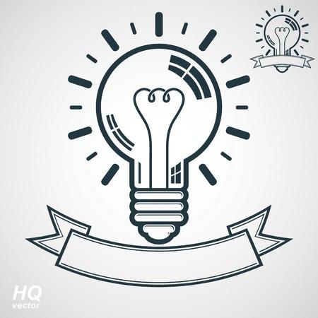 brain storm: Electricity light bulb symbol, insight emblem. Vector brain storm conceptual icon - corporate problem solution theme. Best idea award icon with curvy ribbon. Business idea graphic web design element. Illustration