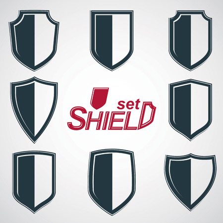 security token: Collection of vector grayscale defense shields, protection design graphic elements. High quality heraldic illustrations on security theme – set of retro coat of arms.
