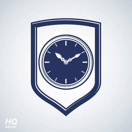 hour hand: Vector wall clock with an hour hand on dial. Protection shield and high quality timer illustration isolated on white background. Value of time conceptual icon.