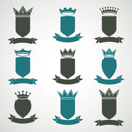 Heraldic royal blazon illustrations set - imperial striped decorative coat of arms. Collection of vector shields with king crown and stylish ribbon. Majestic element, best for use in graphic and web design.