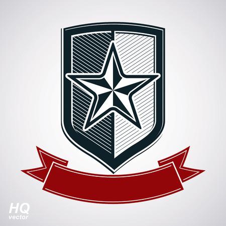 communistic: Escudo de vector con la estrella sovi�tica pentagonal y cinta curvas decorativo, protecci�n blas�n her�ldico. El comunismo y el socialismo s�mbolo conceptual. Urss elemento de dise�o cl�sico, premio.