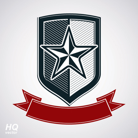 Vector shield with pentagonal Soviet star and decorative curvy ribbon, protection heraldic blazon. Communism and socialism conceptual symbol. Ussr classic design element, award. Illustration