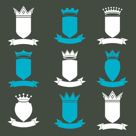 coronet: Collection of empire design elements. Heraldic royal coronet illustration. Set of luxury vector shields with king crown and undulate festive ribbon.
