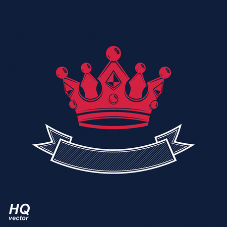undulate: Vector imperial crown with undulate ribbon. Classic coronet with decorative curvy band. King regalia design element.