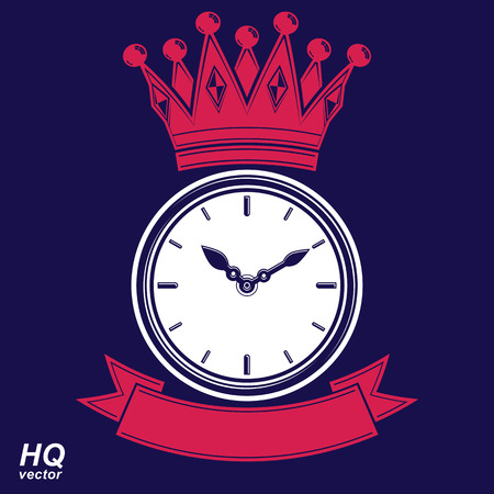 hour hand: Best time management award vector eps8 icon, luxury wall clock with an hour hand on dial. High quality timer illustration with curvy ribbon and royal crown.