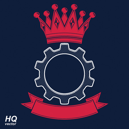 rown: Vector industrial design element, cog wheel with a coronet and curvy ribbon. Best engineering project award conceptual symbol. Royal heraldic coat of arms. Illustration