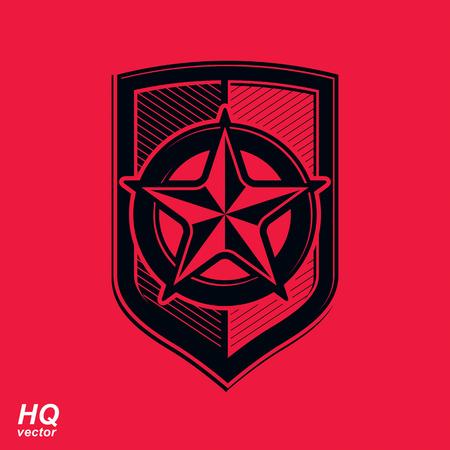 socialism: Vector shield with a red pentagonal Soviet star, protection heraldic blazon. Communism and socialism conceptual symbol. Ussr design element.