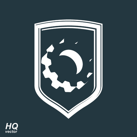 escutcheon: High quality 3d graphic gear symbol on a shield, heraldic escutcheon with an engineering design element. Engine component symbol – industrial cog wheel. Defense emblem.