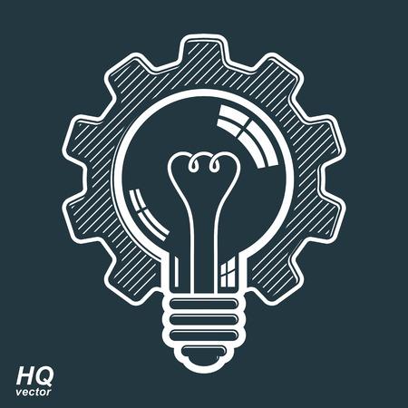 bombilla de luz: Vector bombilla de forma, rueda dentada de alta calidad. Símbolo solución técnica, la fabricación y la idea de negocio icono, artes gráfico retro. Innovación Industria elemento de diseño. Vectores