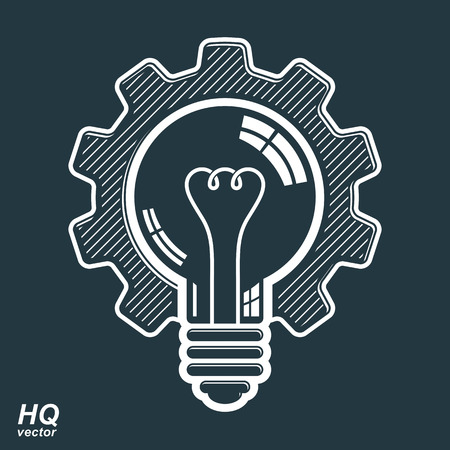 manufacturing: Vector light bulb shape, high quality cog wheel. Technical solution symbol, manufacturing and business idea icon, retro graphic gear. Industry innovation design element.