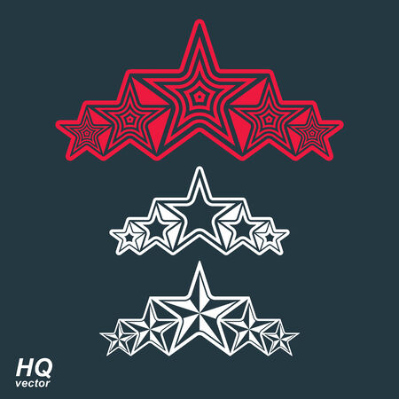 globalism: Vector eps8union symbol. Festive design element with stars, decorative luxury template. Corporate branding icons. Social concept theme emblems set.