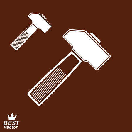 mallet: Trendy  industry hummer, includes additional version. Realistic engineering mallet, manufacturing idea icon. Illustration