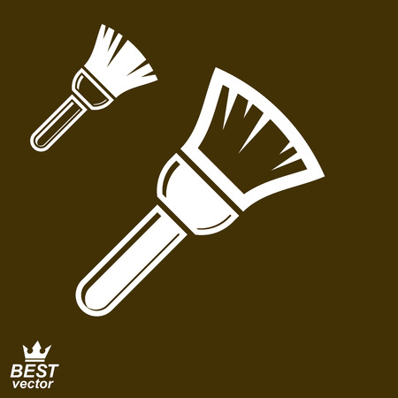 manufactory: Stylized vector repair instrument – simple paint brush for whitewash, includes additional version. Industry tool, web element.