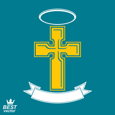 Religious cross emblem with nimbus and decorative ribbon, spiritual idea symbol. Christianity icon, web design element.
