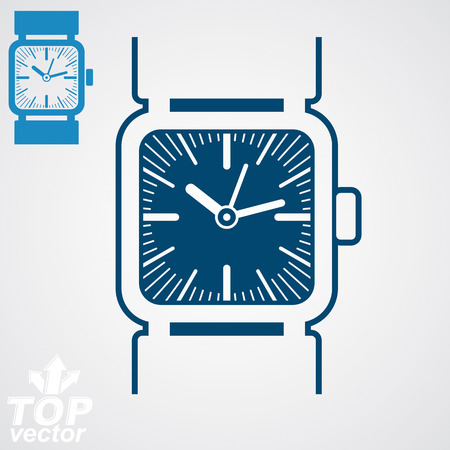timepiece: Vector classic wristwatch illustration, elegant detailed quartz watch with dial and an hour hand. Stylized strap watch, symbolic timepiece. Web business design element – time concept.