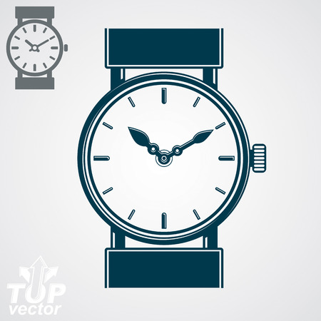 hour hand: Vector simple wristwatch illustration, detailed quartz watch with dial and an hour hand. Stylized strap watch, symbolic timepiece. Web time conceptual business graphic design element. Illustration