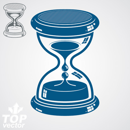 interim: Eps8 high quality dimensional vector sand-glass, includes additional version. Antique decorative liquid 3d hourglass. Vintage clock with water drops. Time conceptual stylized icon. Illustration