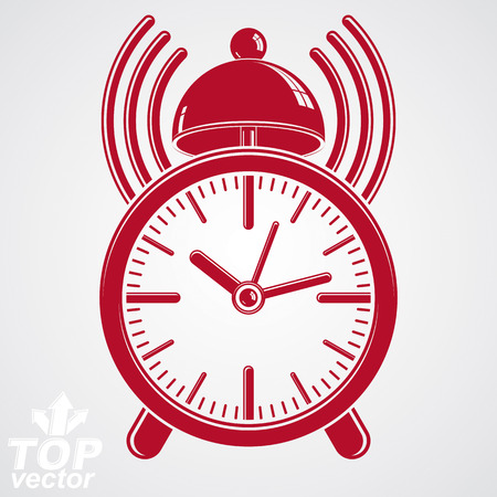 clang: Elegant alarm clock vector 3d illustration with podcast sign, classic wake up ticker. Graphic retro dimensional clock with clang bell – get up interface icon, waiter ringing symbol.
