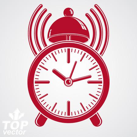 get up: Elegante Sveglia vettoriale 3d con illustrazione di podcast segno, classica sveglia ticker. Graphic retro orologio tridimensionale con clang campana - alzarsi icona interfaccia, cameriere suoneria simbolo.