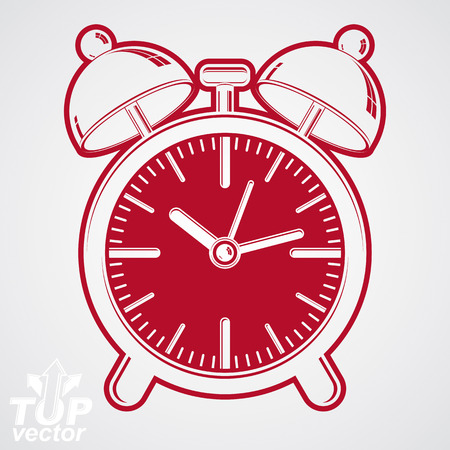 get up: Vector simple alarm clock with two symmetric bells, decorative wake up conceptual icon. Graphic design element – get up theme. Waiter ringing symbol.