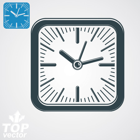 interim: Elegant vector square wall clock with stylized clockwise, additional version included. Business time idea eps8 highly detailed vector illustration. Time management conceptual symbol. Web interface.