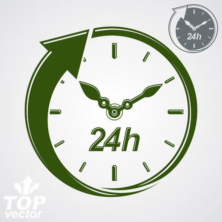 24h: Graphic web vector 24 hours timer, around-the-clock flat pictogram. Day-and-night interface icon. Business time management illustration, additional version included.