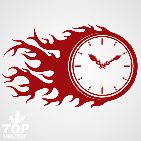 deadline: Time runs fast concept, vector timer with burning flame. Eps 8 highly detailed vector illustration. Deadline theme stylized illustration.