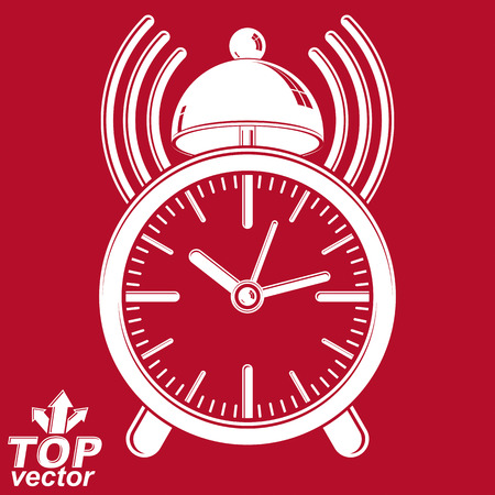 interim: Elegant alarm clock vector 3d illustration with podcast sign, classic wake up ticker. Graphic retro dimensional clock with clang bell – get up interface icon, waiter ringing symbol.
