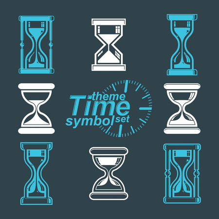 interim: high quality vector sand-glass illustrations. Set of antique classic hourglasses. Retro clocks collection. Time idea stylized icons isolated on white.