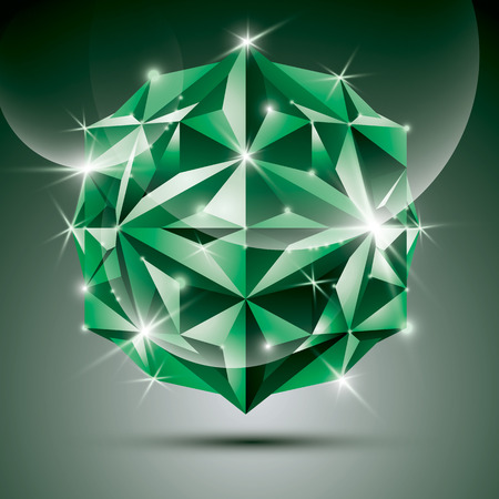 dazzling: Party 3D green shiny disco ball. Vector fractal dazzling abstract illustration - jewel. Gala theme. Fantastic object. Illustration