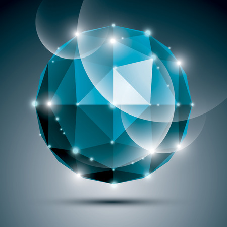 gleam: Abstract 3D sapphire gleam sphere with sparkles, turquoise precious stone. Illustration