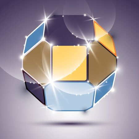 mirror ball: Party dimensional expressive sparkling mirror ball with geometric figures. Vector dazzling abstract illustration - eps10 treasure. Nightclub and event theme.
