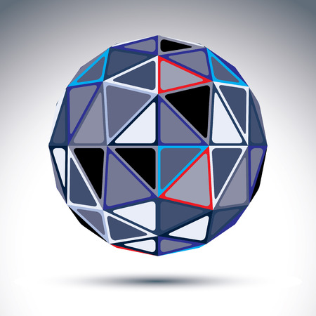 visual effect: Complicated gray urban spherical object, 3d fractal metal disco ball constructed from isosceles triangles with outline, geometric illustration with a kaleidoscope visual effect.