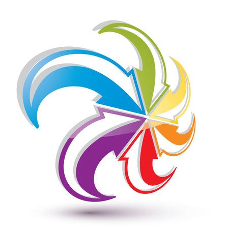 Arrows abstract loop symbol, vector conceptual pictogram template, vector 3d icon. Vector