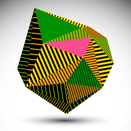 misshapen: Multifaceted asymmetric contrast figure with parallel lines. Striped colorful misshapen abstract vector object constructed from graffiti triangles.