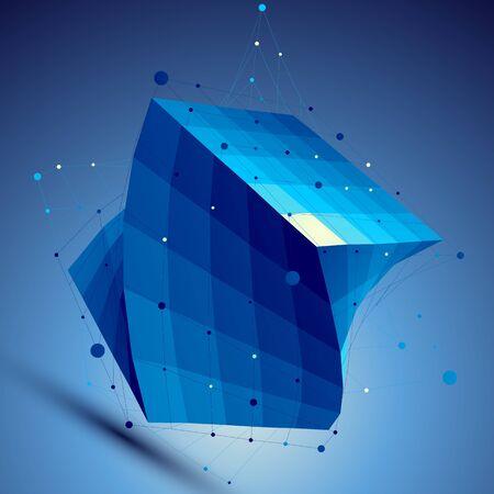 tel kafes: Mavi 3D vektör soyut teknoloji illüstrasyon, tel örgü ile perspektif geometrik ızgara arka plan kare. Çizim
