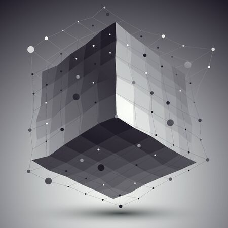 deformed: Abstract deformed vector monochrome cube with lines mesh placed over dark background.