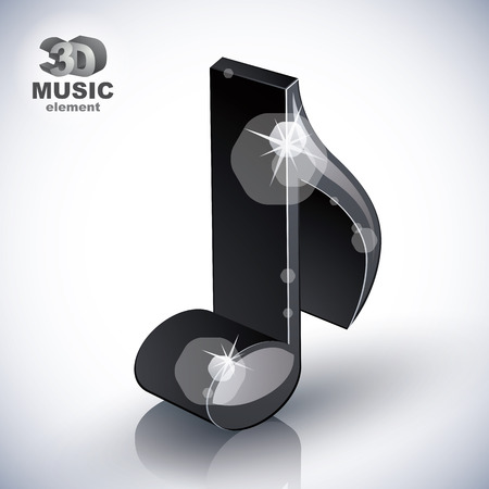 sonata: Trendy slim musical note 3d modern style icon isolated, 3d music element, image contain transparent shadows reflections and flares  – ready to put over any background.