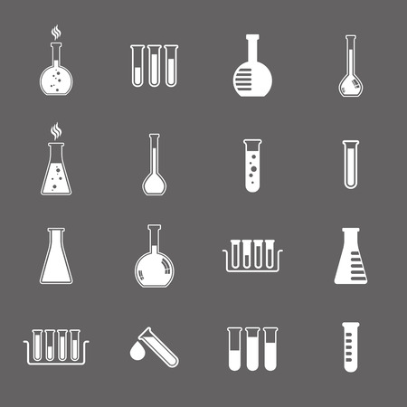 chemical reaction: Chemical and medical flask icons vector set. Illustration