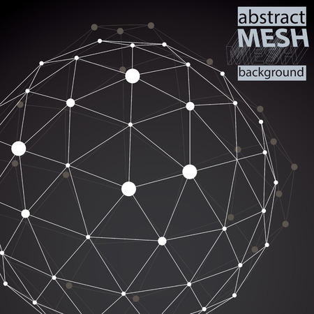 Spatial technological shape, polygonal black and white wireframe background with creative object made from lines and dots. Vector