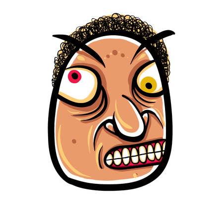 Wierd cartoon face, absolute crazy numskull portrait, vector illustration.