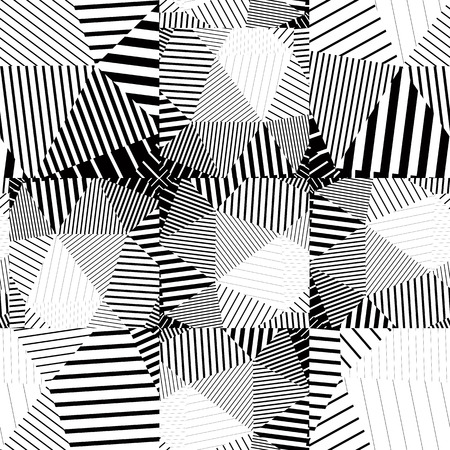 Black and white seamless pattern with parallel lines and geometric elements, infinite mosaic textile, abstract vector textured floor covering.