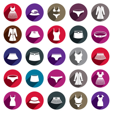 intimately: Woman clothes vector icon set.