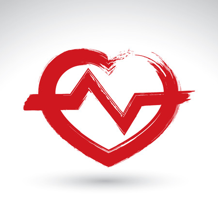 med: Hand drawn red heart icon, brush drawing heart sign with electrocardiogram, original hand-painted heart symbol with ekg isolated on white background.