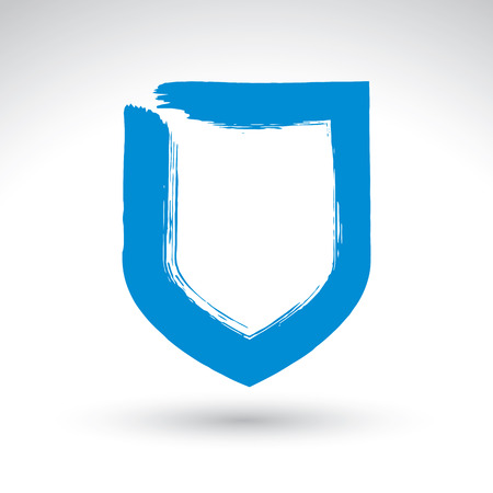 Hand drawn simple shield icon, brush drawing vector security sign, blue hand-painted protection symbol isolated on white background, user interface pictogram.