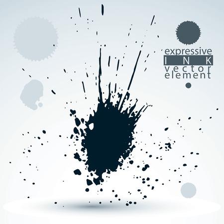 ephemeral: Splattered monochrome web design element, art ink blob, paintbrush drawing. Smudge graffiti background.
