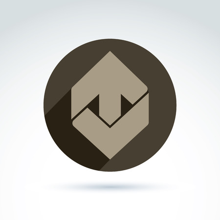 pointer emblem: Vector abstract emblem with up arrow – direction sign, pointer. Checkmark symbol placed in a circle.