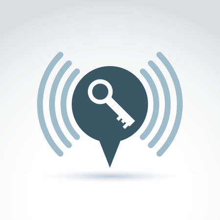 secret code: Vector monochrome speech bubble with a key isolated on white background. Signal sign, conceptual privacy icon.  Conversation on protection theme.