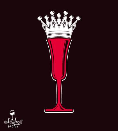 glas sekt: Sektglas mit Kaiserkrone, dekorative Becher voll mit Sekt. K�nigin des Abends konzeptionelle Darstellung