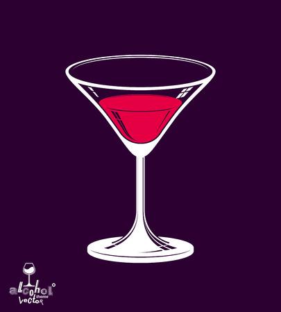 copa martini: Realista copa de martini 3d coloca sobre fondo oscuro, tema alcohol ilustraci�n. Estilizada objeto art�stico sal�n, relajaci�n y celebraci�n - fiesta. Vectores